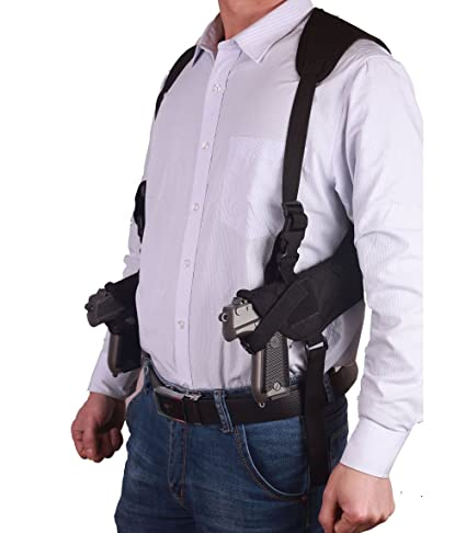 87e710774da4 ZHW Tactical Universal Double Draw Shoulder Holster,Adjustable Elastic Band  for Women Men (Black)