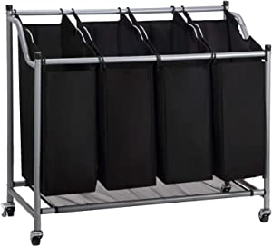 Olive Laundry Sorter Cart 4 Bag with 4 Rolling Wheels Heavy Duty Laundry Organizer Cart Steel Frame Clothes Hamper Sorter, Black