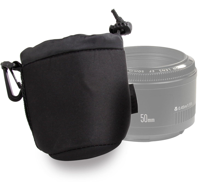 S DURAGADGET Funda//Bolsa para Lente Canon EF 50mm f//1.4 USM-Tama/ño peque/ño Hecha En Neopreno - con Cierre Seguro Y Gancho para Cintur/ón