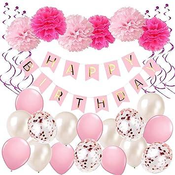 DY_Jin Niñas Feliz Cumpleaños Decoración Globos Garland Banners Set con Papel Pompones Cumpleaños Tela Decoración Rosa y Rosa Globos (Pink)