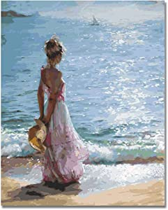 BOSHUN Wooden Framed Paint by Numbers Kits with Brushes and Acrylic Pigment DIY Canvas Painting for Adults Beginner- A Girl Facing The Sea 16 x 20 inch