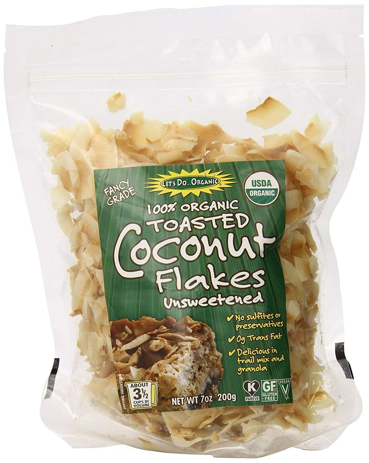 Let's Do Organic Unsweetened Coconut Flakes, Toasted, 7 Ounce (Pack of 6)