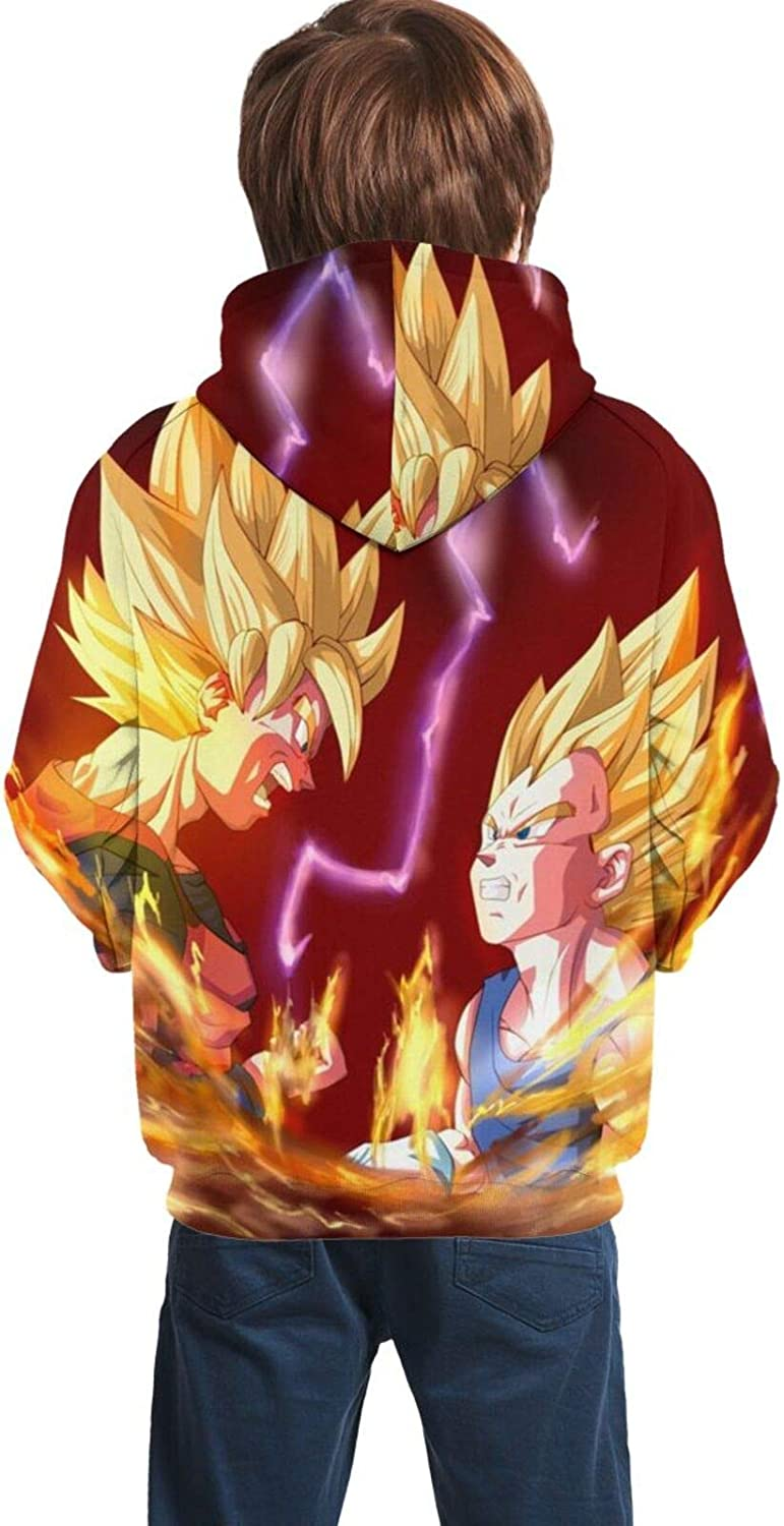 Dragon Ball Z Goku Pullover Hooded with Pocket Sweatshirt for Boys Girls Unisex Youth Hoodies Sweater