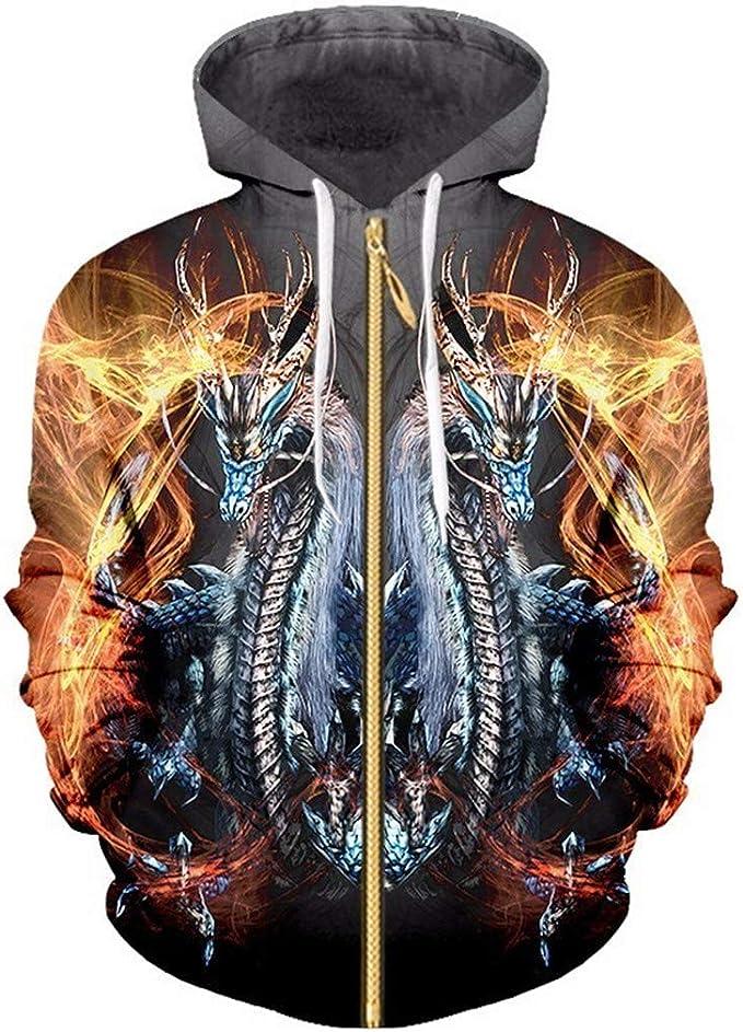 Sudadera para Hombre Cool Print Fire Dragon 3D Pareja con Capucha ...