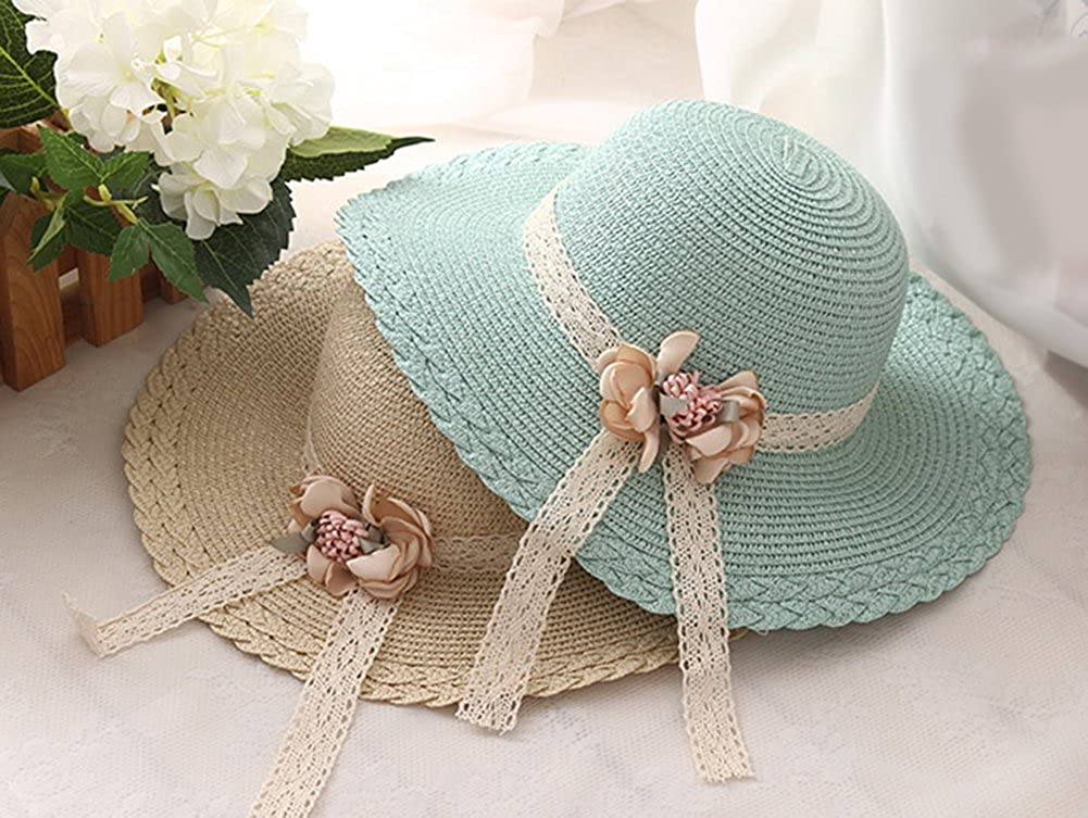 f32e1d3333f Cupcinu Children Girls  Kids Straw Hats Summer Sun Beach Hats Lace Flowers  Wide Brim Foldable Packable Floppy Straw Hats Sun Visor  Amazon.co.uk   Clothing