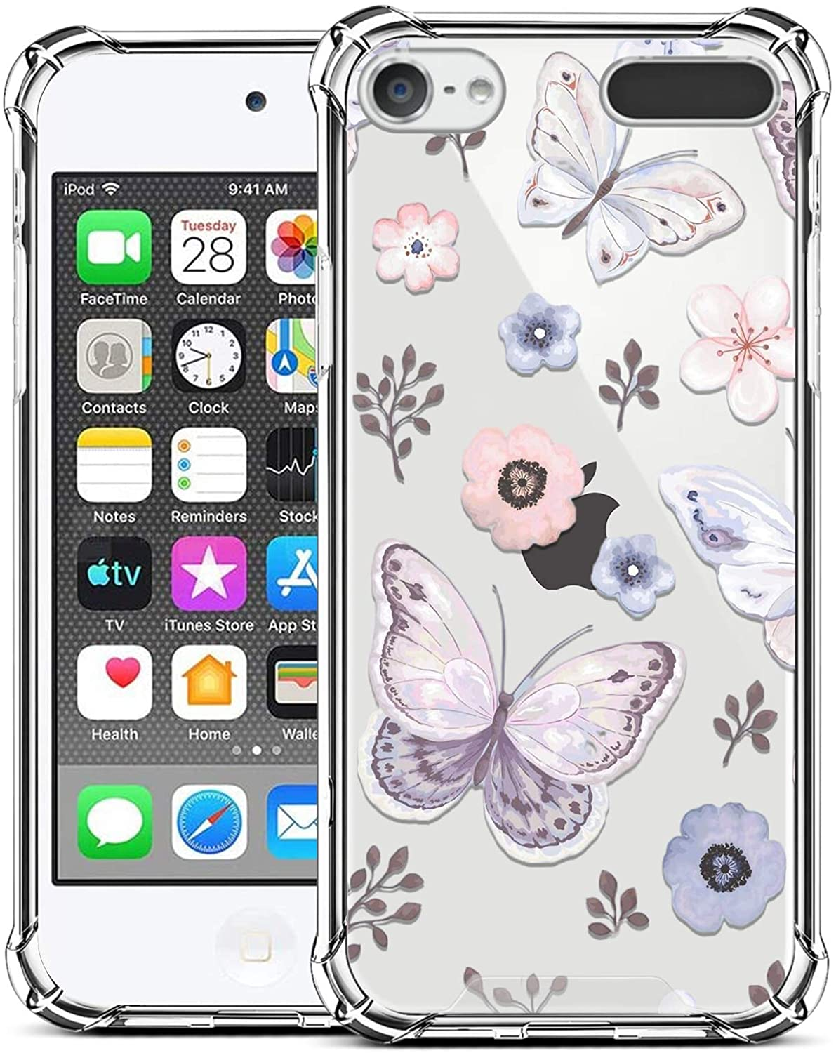ZIYE Compatible with iPod Touch 7th Generation Case,iPod Touch 6 5 Case Clear,Shockproof Protective Case for iPod Touch 5/iPod Touch 6/iPod Touch 7 Case Butterfly