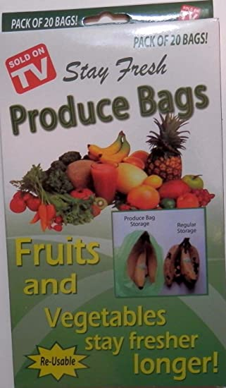 Amazon.com: 20 Stay Fresh verde bolsas reutilizables ...