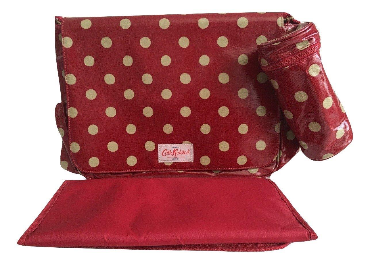 Cath Kidston–cambiar pañales Bolsa de hule botón Spot Berry rojo