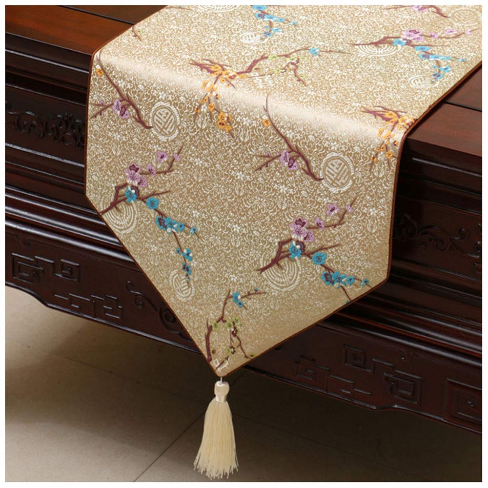 Gong Rustic Table Runner Tassel Table Tablecloth Chinese Classical Decoration for Dinner Wedding Event Party Christmas Birthday Marriage Banquet Size : 33 * 150cm