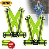 Mocatt Reflective Vest Jog Safety Vest Reflective Running Vest Elastic and Adjustable Reflective Running Gear High Visibility Vest for Running, Walking, Jogging, Cycling- 2 Pack for Adults