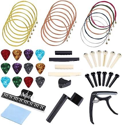 Auihiay - Juego de 51 accesorios para guitarra, incluye cuerdas ...