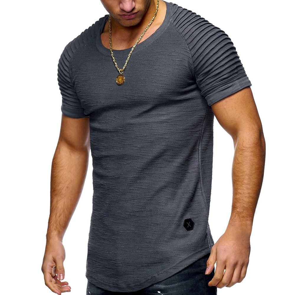 T-Shirt Men High Street Solid Color Mens T-Shirt Men Short Sleeves Stripe Fold Slim Fit Casual