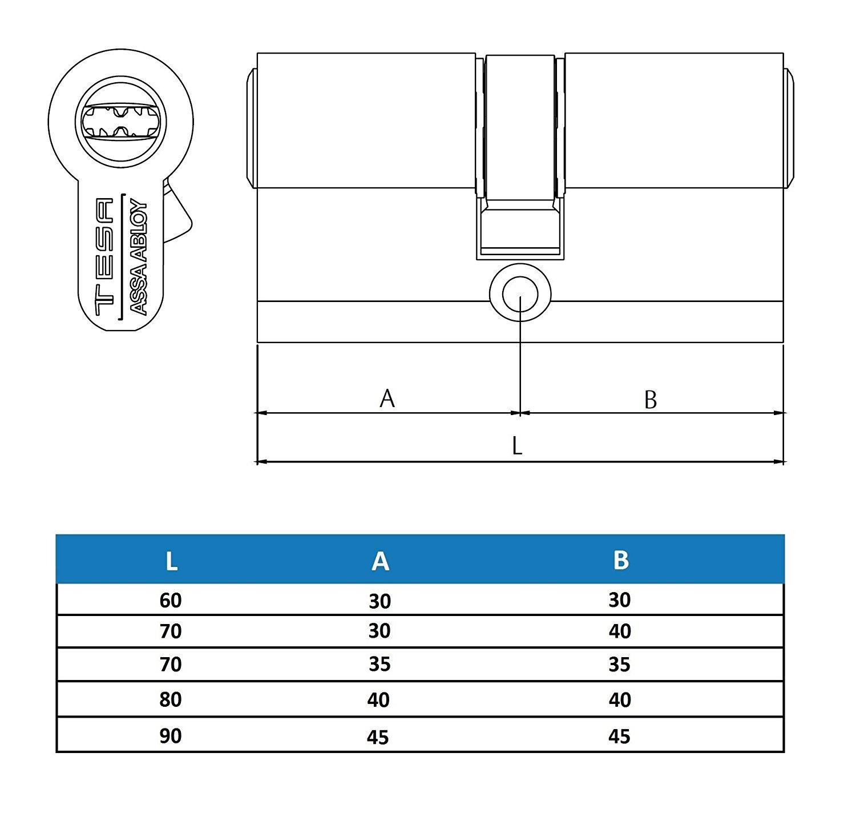 Tesa Assa Abloy TK153050L TK 100 - Cilindro de Alta Seguridad Patentado, Latonado, 30 x 50 mm: Amazon.es: Bricolaje y herramientas