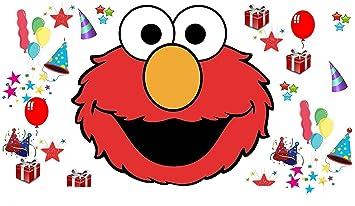 Sesame Street Elmo Face Presents Stars Party Hats Balloons