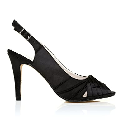 40680973c0d CHLOE Black Satin Stiletto High Heel Slingback Bridal Peep Toe Shoes   Amazon.co.uk  Shoes   Bags