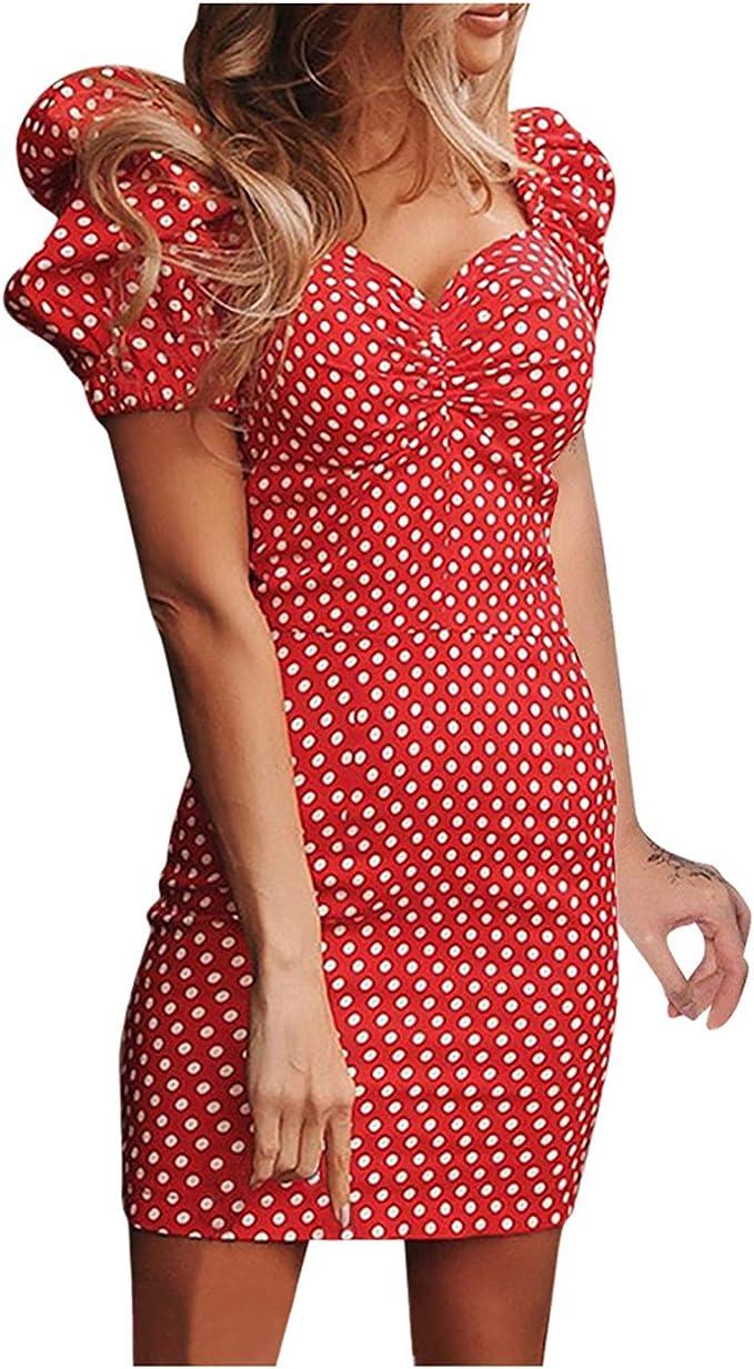 Ansenesna Sommerkleid Damen Punkte Vintage Sommer Elegant Kleid
