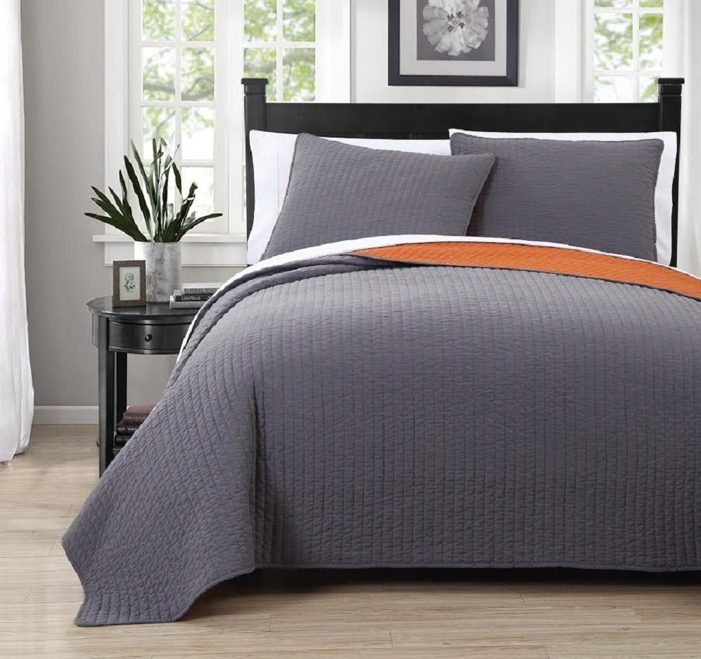 Grey with Orange reversible Embroidered 3pc Quilt Set