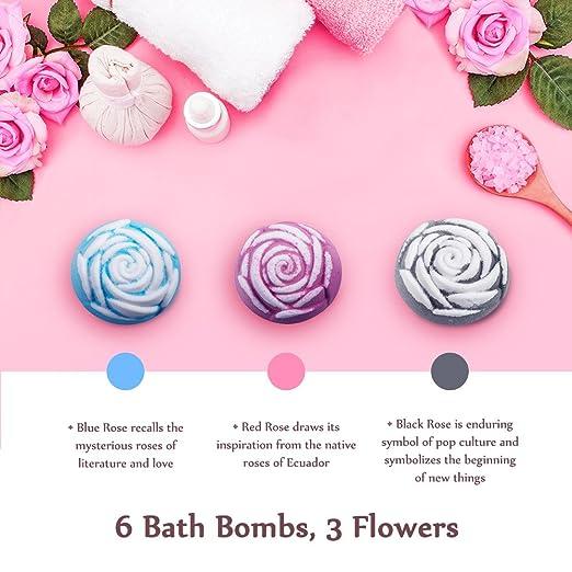Anjou Bath Bomb Gift Set, 6 x 100g Rose Shaped and 1 x 90g Heart ...