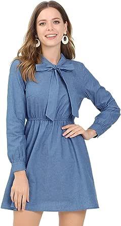 Allegra K Vestido Acampanado Mini Tela Vaquera Cuello con Corbata Cintura Elástica Manga Larga Trabajo para Mujer