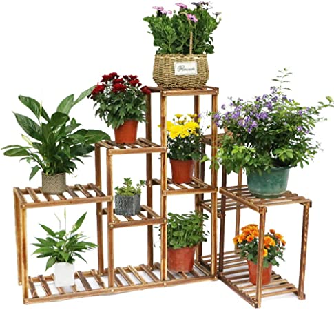 Amazon Com Tnpshop Wooden Corner Flower Stand Plant Pot Holder