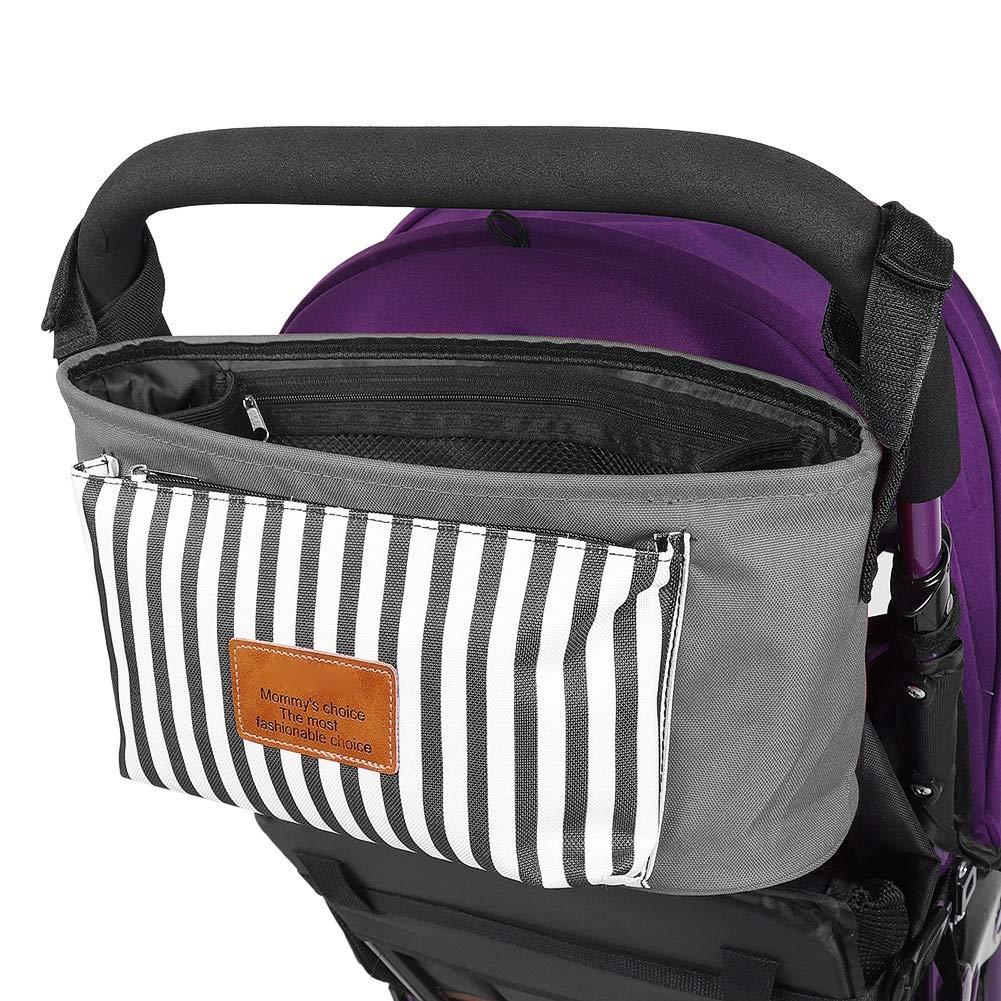 Baby Stroller Organizers Baby Stroller Hanging Bag Diaper Bag Waterproof Multifunctional Mommy Baby Pack gray
