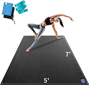 Premium Large Yoga Mat7'x5'x9mm, Extra Thick Comfortable Barefoot Exercise Mat, Non-Slip, Eco-Friendly Workout Mats and Home Gym Flooring Cardio Mat for Support in Pilates, Stretching