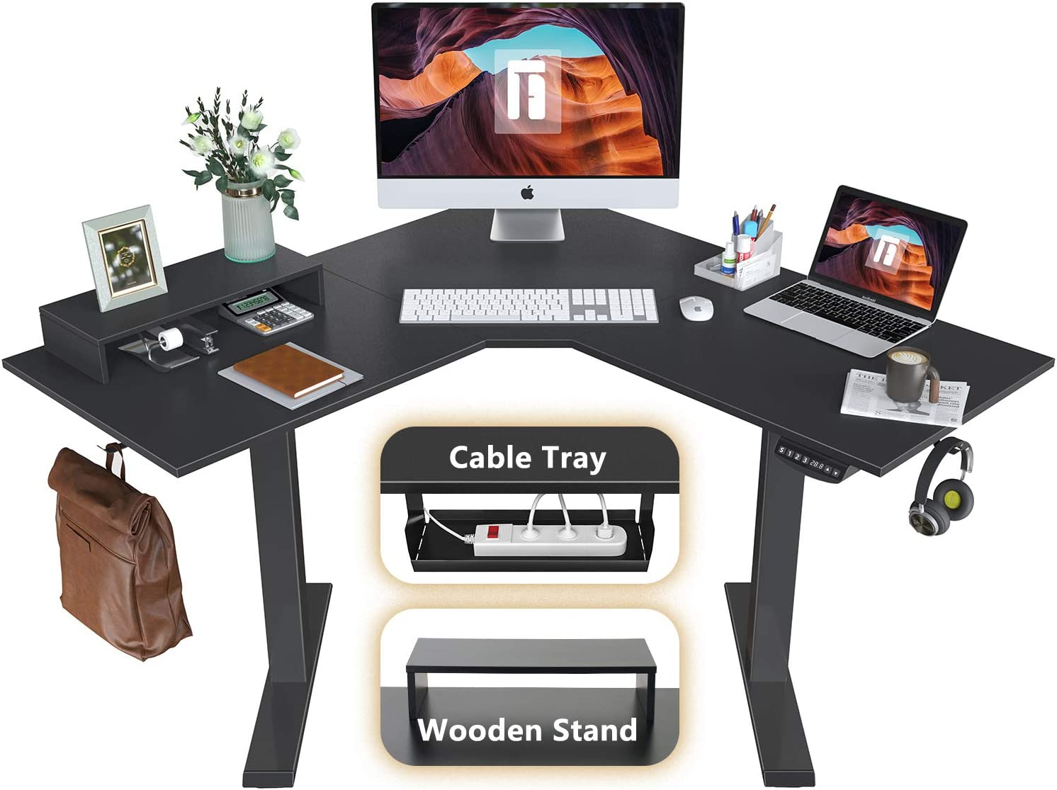 FEZIBO L-Shaped Electric Standing Desk, 48 Inches Height Adjustable Corner Desk, Full Sit Stand Home Office Table with Splice Board, Black Frame/Black Top
