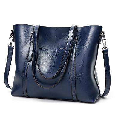 Amazon.com  Women Genuine Leather Handle Daily Work Shoulder Bag Large  Capacity Blue Ciara  Shoes 8b1003e5c00d5