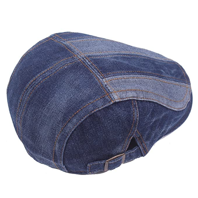130be17c85d0 Denim Flat Cap Gatsby Newsboy Ivy Irish Hats Jean Cabbie Driving Scally  Duckbill Hat at Amazon Men's Clothing store