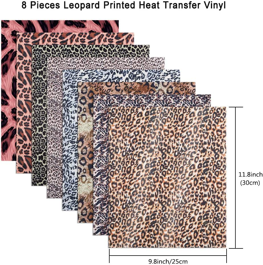 Sntieecr 8 Sheets 12 x 10 Inch Leopard Patterned Heat Transfer Vinyl Craft Sheet Leopard Printed Vinyl HTV Sheets for DIY T-Shirt and Craft