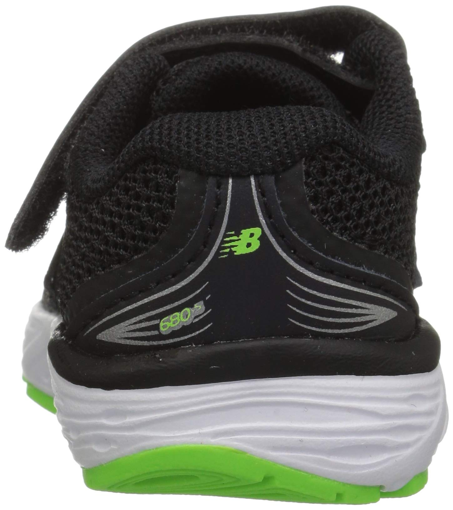 New Balance Boys' 680v5 Hook and Loop Running Shoe Black/RBG Green 2 M US Infant by New Balance (Image #2)