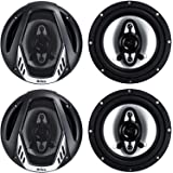 BOSS Audio Systems NX654 Onyx 6.5 Inch 400 Watt 4-Way 4 Ohm Full Range Car Audio Coaxial Stereo Speakers with Mylar Dome Twee