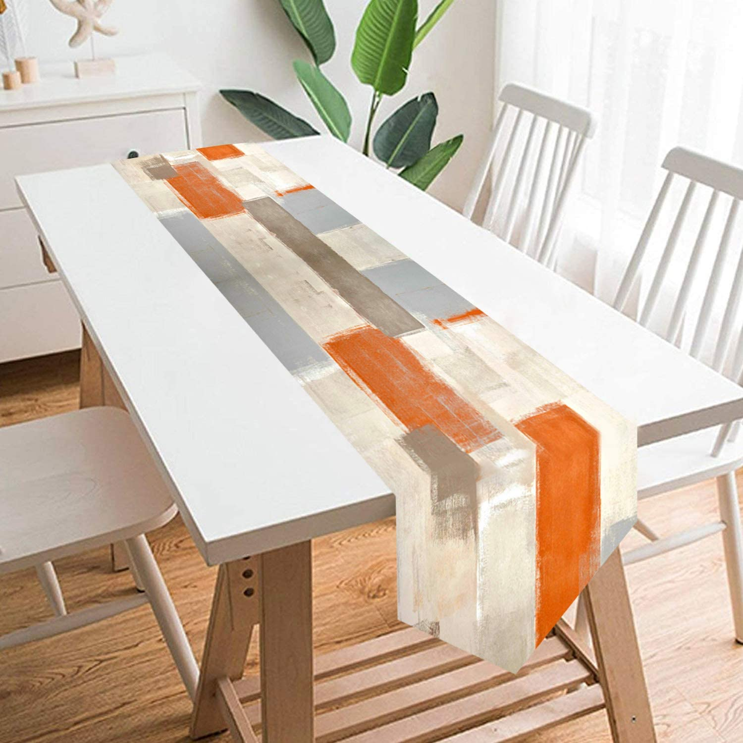 GALMAXS7 Farmhouse Style Burlap Table Runner Modern Art Table Runner Orange and Grey Abstract Art Painting Table Runners for Farmhouse Kitchen, Dinner Holiday Parties Wedding Decor - 13 X 70 Inch