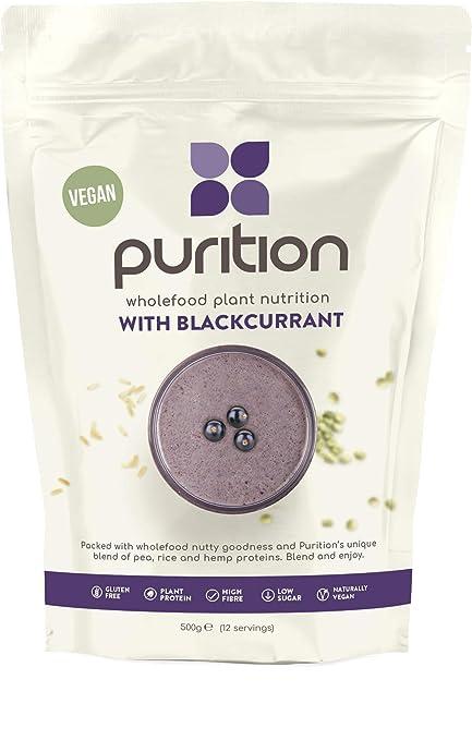 Purition Batido de proteínas veganos de Grosella Negra 500g). Batido para el desayuno sin
