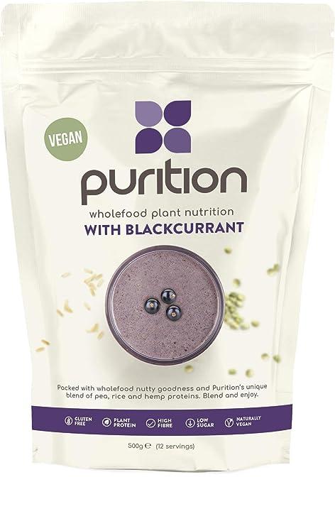 Purition Batido de Proteínas Veganos de Grosella Negra (500g). Batido para el desayuno