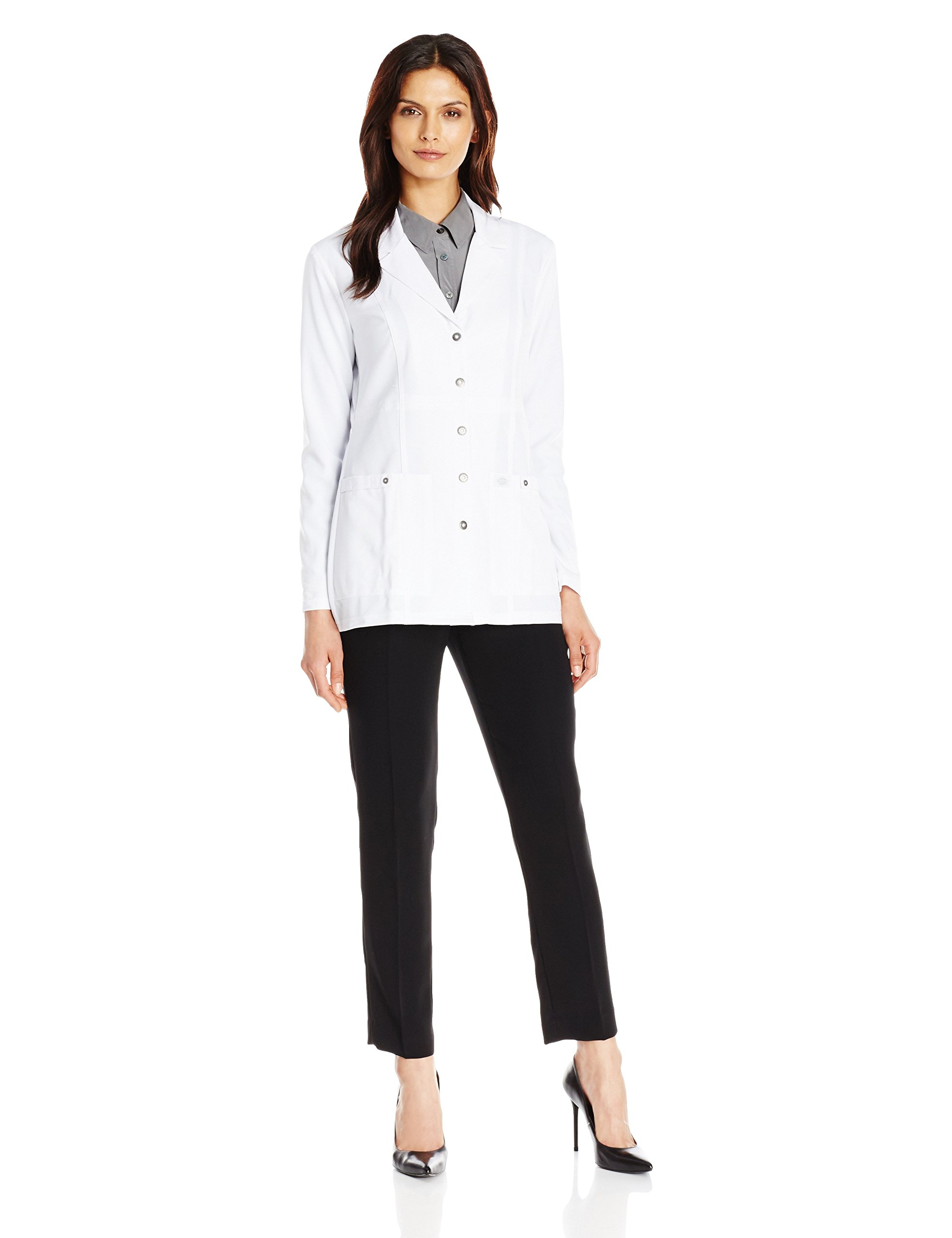 Dickies Women's Xtreme Stretch 28 inch Snap Front Lab Coat, White, Medium