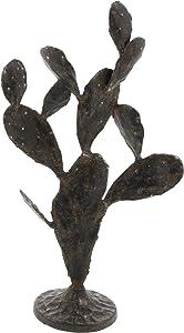 """Deco 79 59464 Iron Cactus Sculpture, 16"""" x 9"""", Black"""