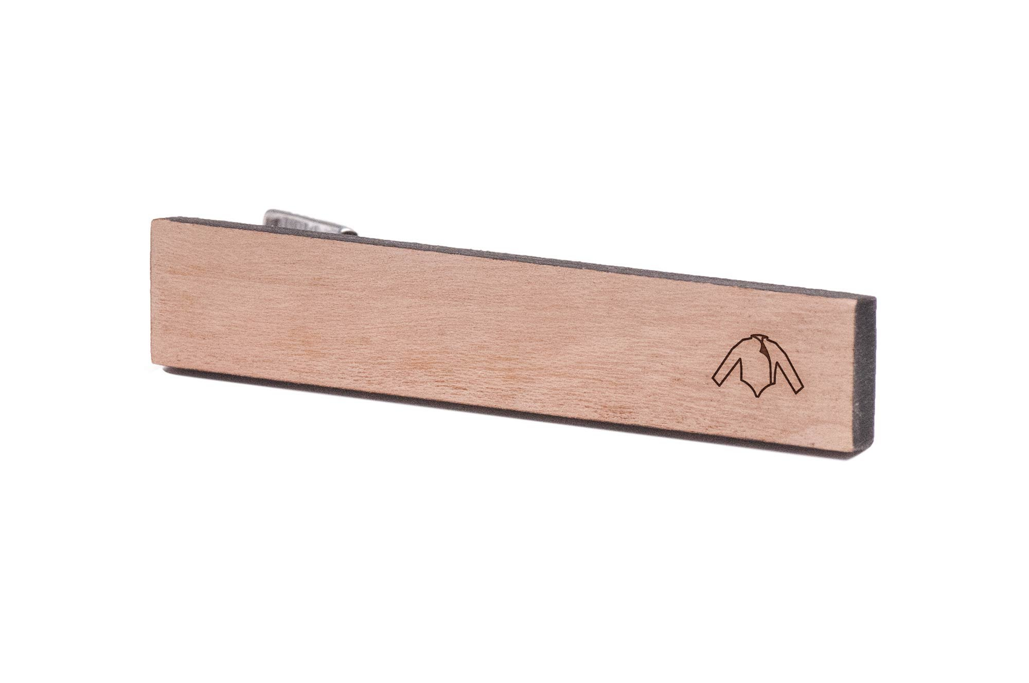 WOODEN ACCESSORIES COMPANY Wooden Tie Clips With Laser Engraved Fencing Jacket Design - Cherry Wood Tie Bar Engraved In The USA