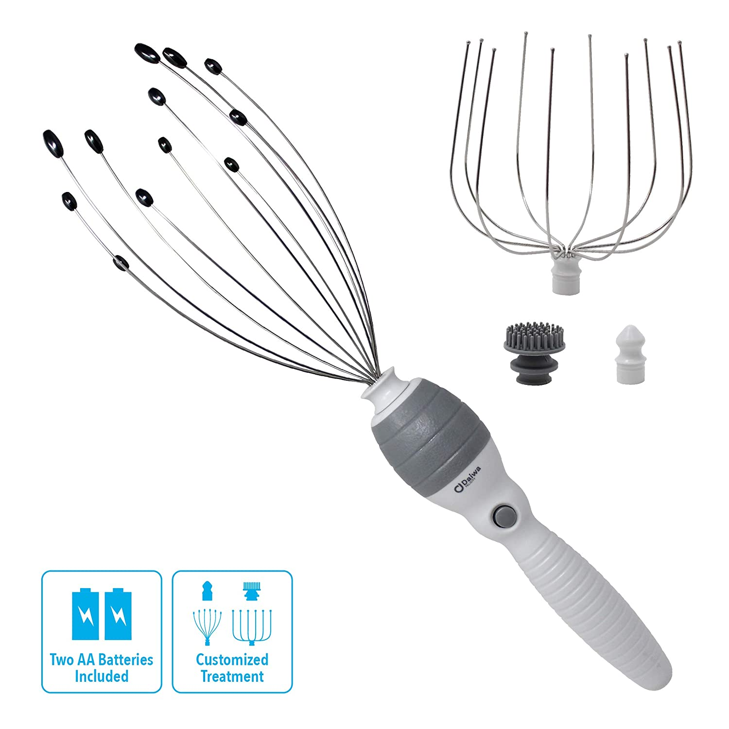 Daiwa Felicity 5-in-1 Electric Vibrating Head Scalp Massager Set [Updated 2019]