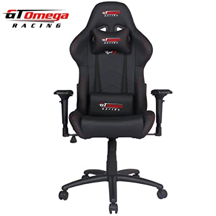 amazon com gt omega pro racing office chair black leather kitchen