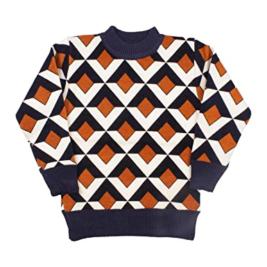 0ead9c691238 Miss U Boy s Sift Warm Acrylic Wool Round Neck Sweater (Orange