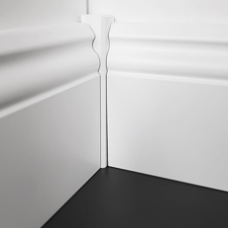 8 St/ück 8x Universal Eckstab /• H/öhe 125 mm /• Zuschneidbar /• Passend zu allen Sockelleisten /• Buche Massivholz /• Eckblock /• Eckturm /• Echtholz-Ecken /• Hamburger//Berliner Profil Wei/ß