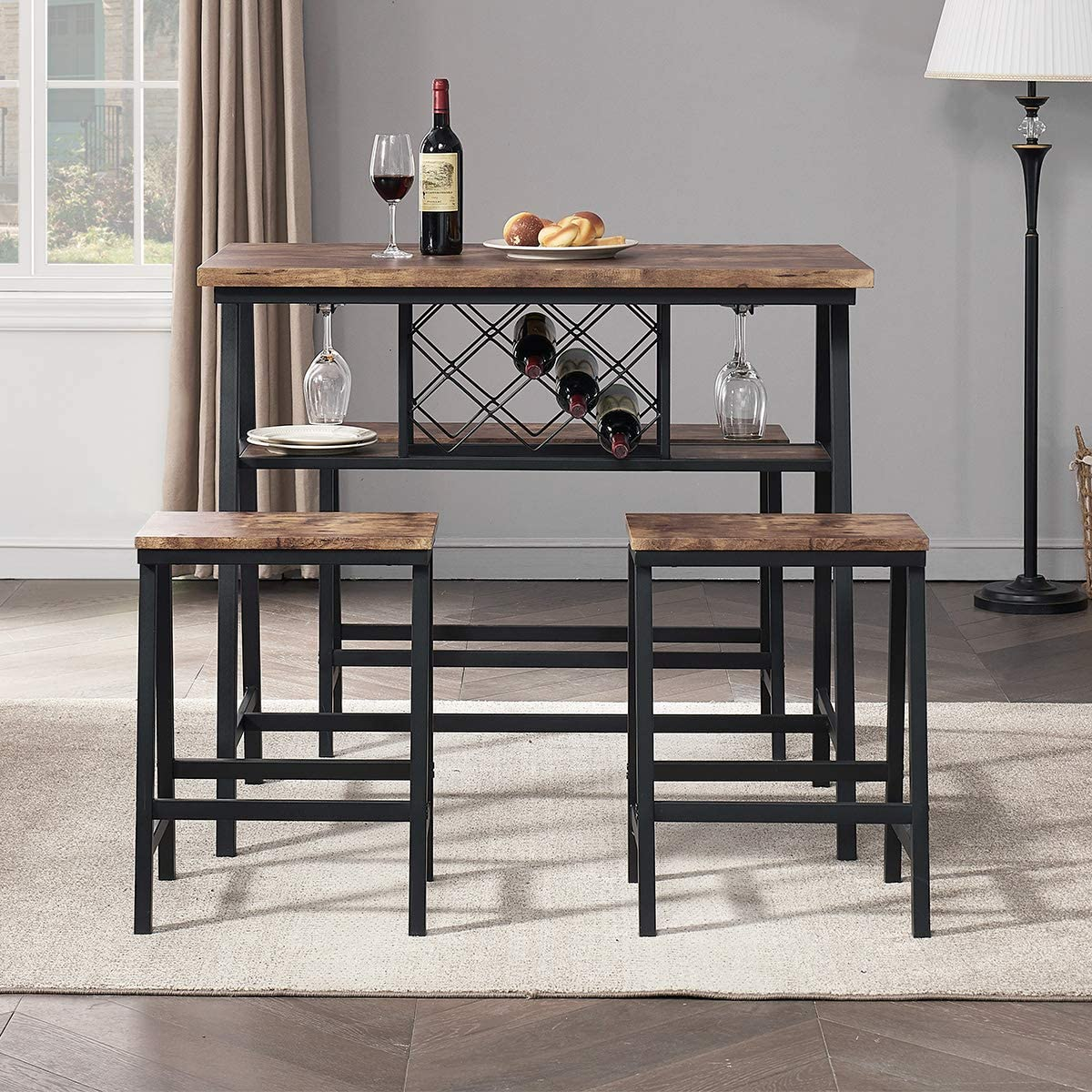 O&K FURNITURE 4-Piece Counter Height Dining Room Table Set, Bar Table with One Bench and 2 Stools, Industrial Table with Wine Rack for Kitchen Counter, Small Space Table and Chairs Set, Rustic Brown