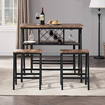 Amazon Com O K Furniture 4 Piece Counter Height Dining Room Table Set Bar Table With One Bench And 2 Stools Industrial Table With Wine Rack For Kitchen Counter Small Space Table And Chairs