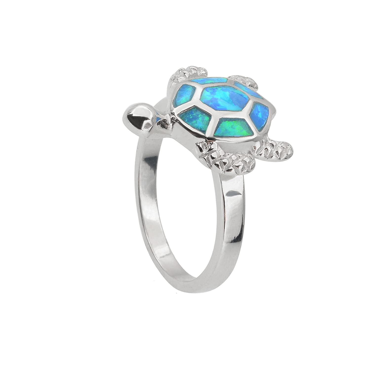 Sterling Silver Created Blue Opal Turtle Ring. Available in sizes 6 – 7 – 8 – 9