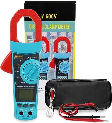 Digital Clamp Meter Multimeter Auto Manual Ranging Multimeter Tester AC DC Volt Amp Ohm Temperature Capacitance Diode Test 6000 Count True RMS 1200A Amp