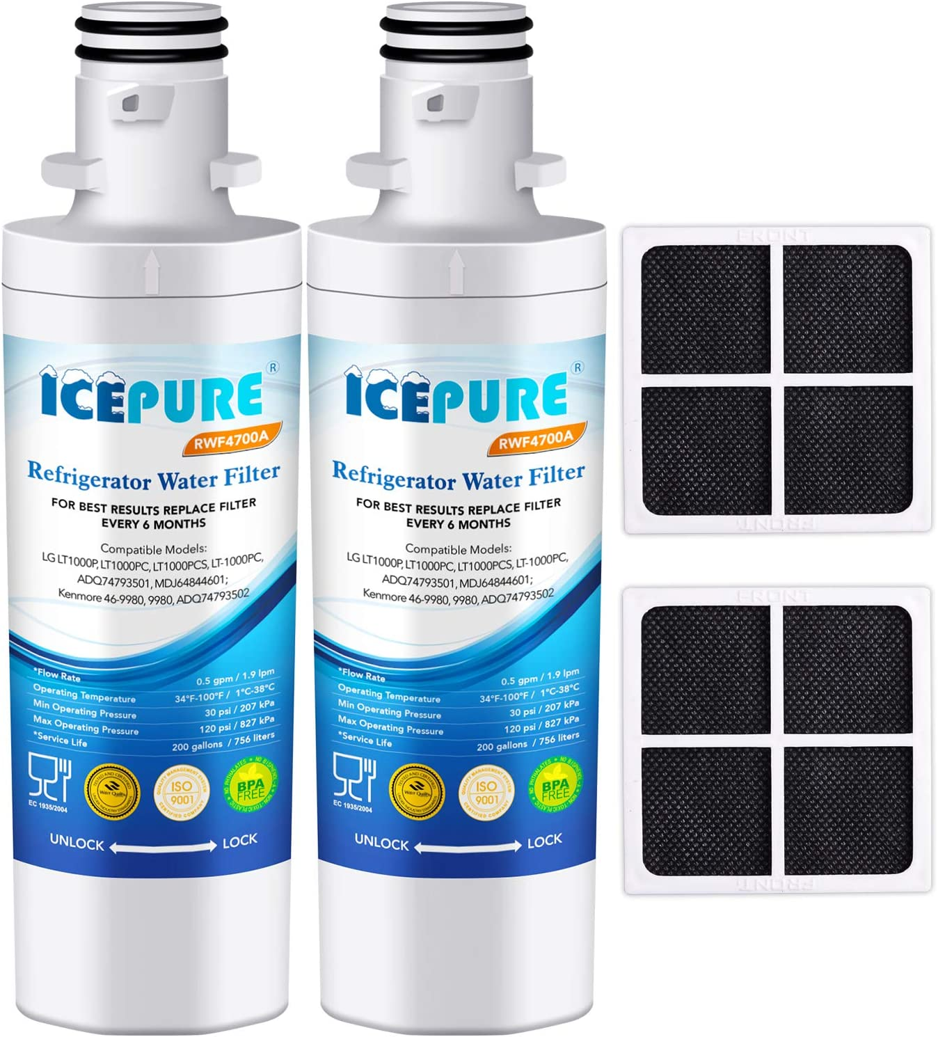 ICEPURE LT1000P Refrigerator Water Filter and Air Filter, Compatible with LG LT1000P, LT1000PC, MDJ64844601, Kenmore 46-9980, 9980, ADQ74793501, ADQ74793502 and LT120F Combo, 2PACK