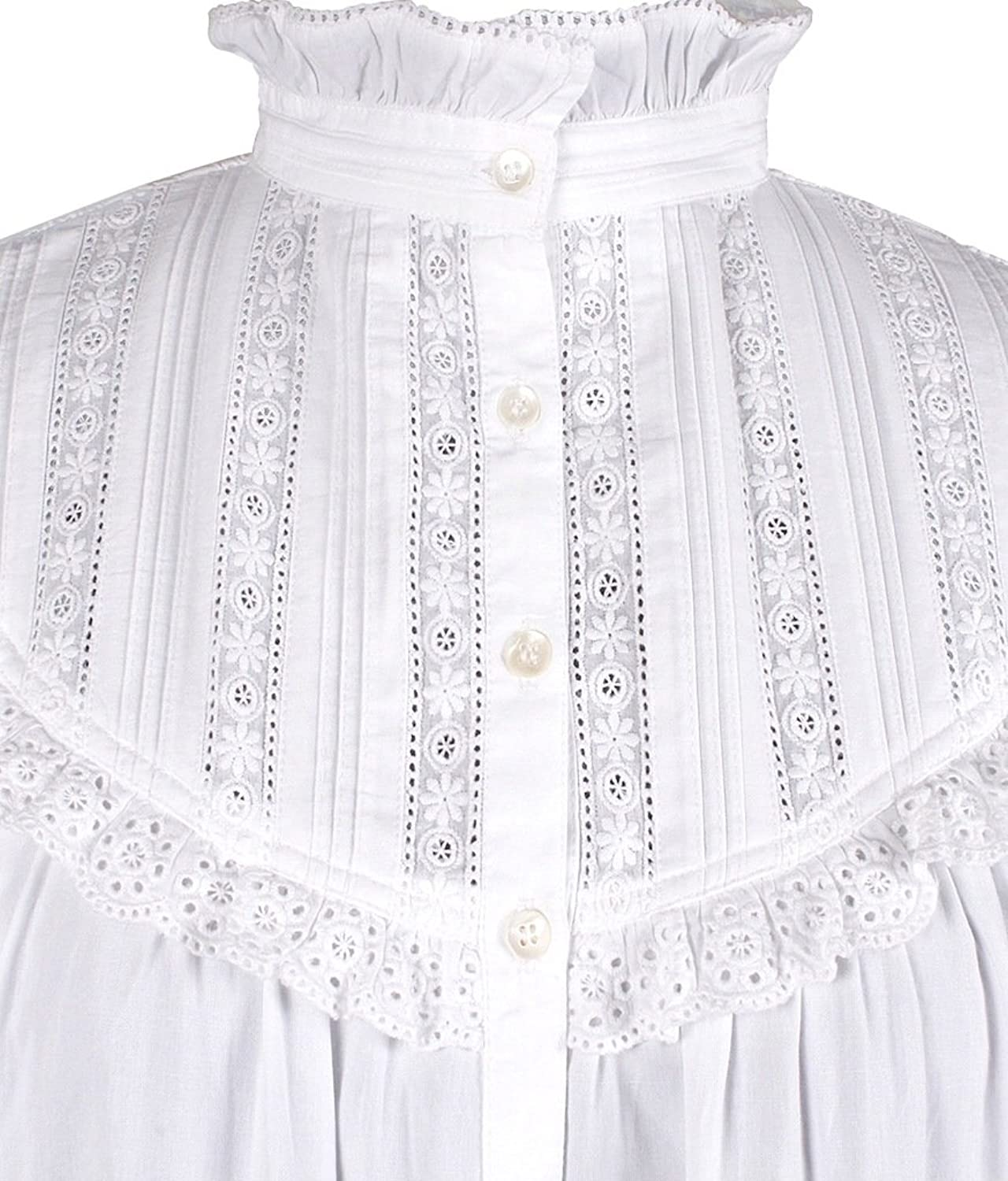 Cotton Lane White Cotton Victorian Edwardian Vintage Reproduction Nightdress. Sizes UK 8 to 38.