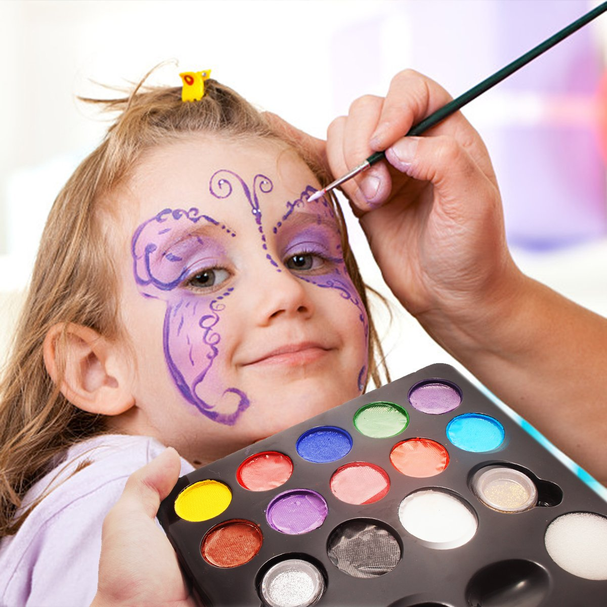 12 Schminkasten Schminkset, Schminkpalette mit 2 Glitzer und 3 Pinsel, Kinderschminken Profischmink für Kinder Tiermasken Körperfarben Halloween Karneval Make-up Bodypainting Facepainting Herenear JT009