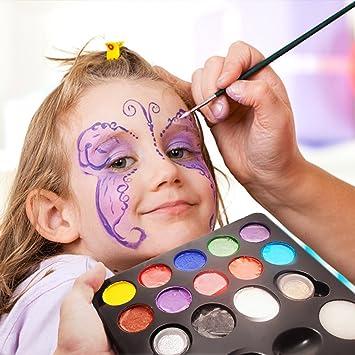 a515e2579 Pintura Cara 12 Colores, 2 Purpurinas, 3 Pinceles, 2 Esponjas, Maquillaje  Arte Paleta Set Niños Infántil para Hallowen, Carnaval, La Semana Santa, ...